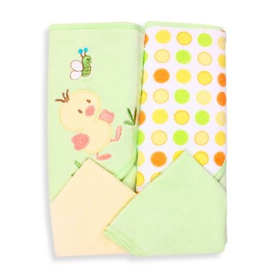Spasilk® Baby Duck 4-Piece Terry Hooded Towel and Washcloth Set in Green