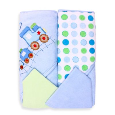 Spasilk® Baby Train/Dots 4-Piece Terry Hooded Towel and Washcloth Set in Blue