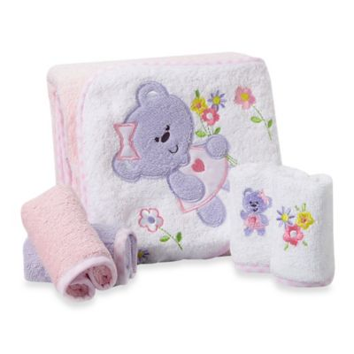 Spasilk® Baby Bear 5-Piece Terry Hooded Towel and Washcloth Set in Pink/Purple