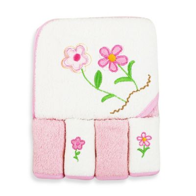 Spasilk® Baby Flowers 5-Piece Terry Hooded Towel and Washcloth Set in Pink