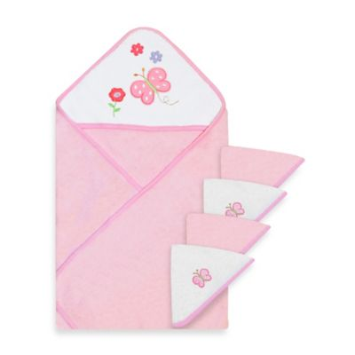 Spasilk® Baby Butterflies 5-Piece Terry Hooded Towel and Washcloth Set in Pink