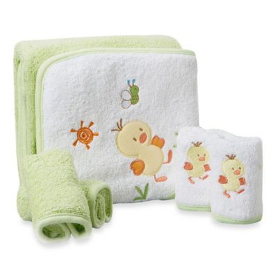Spasilk® Baby Duck 5-Piece Terry Hooded Towel and Washcloth Set in Green