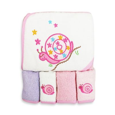 Spasilk® Baby Snail 5-Piece Terry Hooded Towel and Washcloth Set in Pink