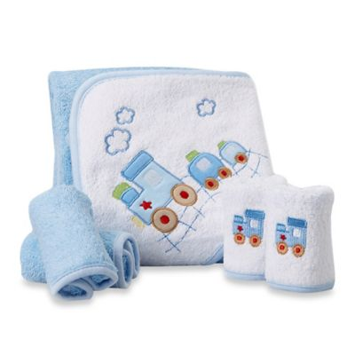 Spasilk® Baby Train 5-Piece Terry Hooded Towel and Washcloth Set in Blue