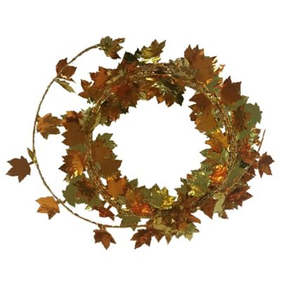 Maple Leaf 9-Foot Wire Garland in Autumn Gold (Set of 4)