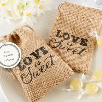 Kate Aspen® Love Is Sweet Burlap Favor Bag (Set of 12)