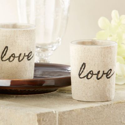 Kate Aspen® Love Linen-Covered Glass Votive Holders (Set of 4)