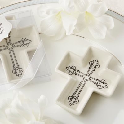 Kate Aspen® Blessings Ceramic Cross Trinket Dish