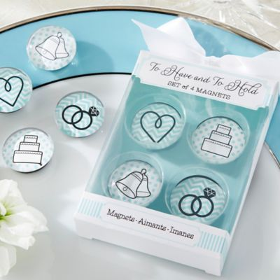 Kate Aspen® To Have And To Hold Glass Wedding Magnets (Set of 4)