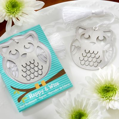 Kate Aspen® Happy & Wise Brushed Metal Owl Bookmark
