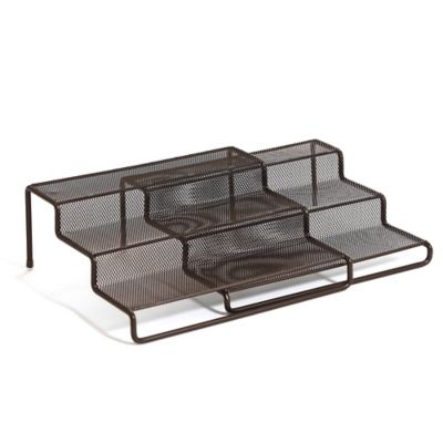 Expandable 3-Tier Step Shelf in Mesh Bronze