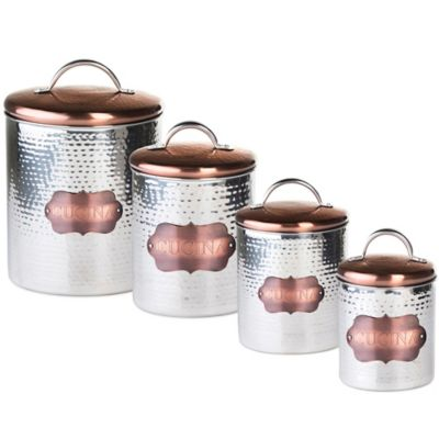 "Global Amici Medium ""Cucina"" Hammered Metal Canister"