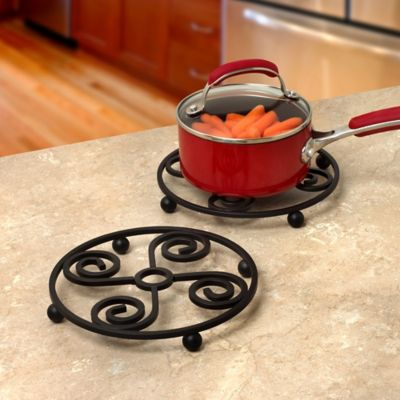Spectrum™ Scroll Square Trivet in Black