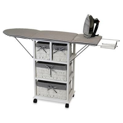 Rolling Ironing Board Station with Storage