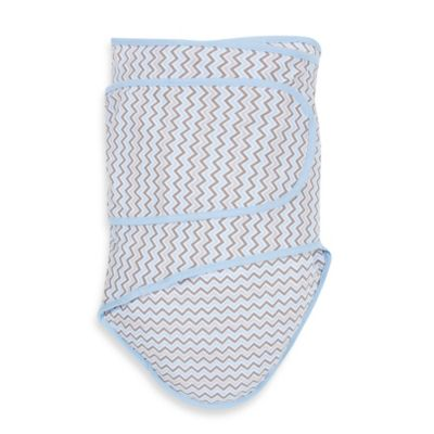 Miracle Blanket® Chevron Swaddle in Blue/Grey