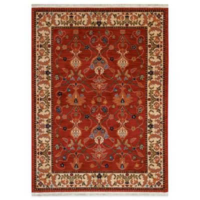 8 Black Red Square Rug