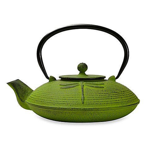 Buy primula dragonfly cast iron teapot with infuser in green from bed bath beyond - Cast iron teapot dragon ...
