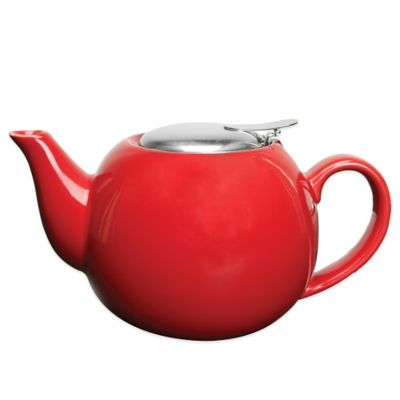 Primula® Ceramic Tea Pot with Stainless Steel Infuser in Red