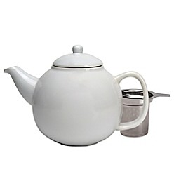 Ceramic Teapot With Stainless Steel Infuser In White by Primula
