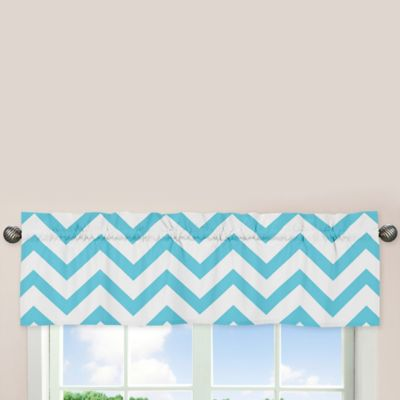 Sweet Jojo Designs Chevron Window Valance in Turquoise and White