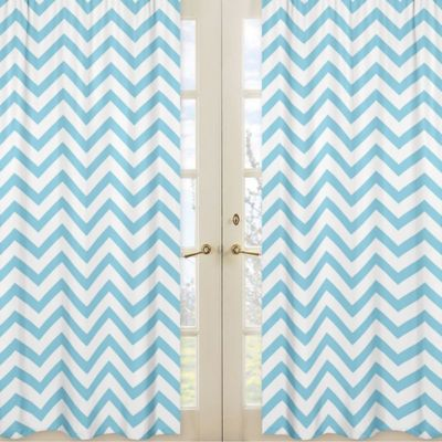 Sweet Jojo Designs Chevron Window Panel Pair in Turquoise and White