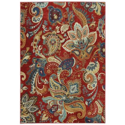 Karastan Intermezzo Paisley Stencil 2-Foot 4-Inch x 8-Foot 3-Inch Runner in Tomatillo Red