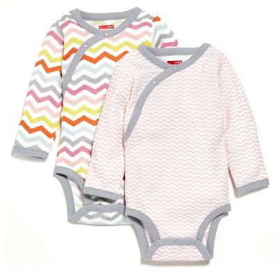SKIP*HOP® Size 0-3M Side Snap Long Sleeve Print Bodysuit 2-Pack in Pink/Chevron