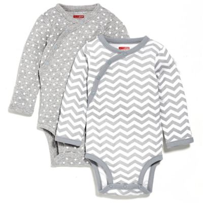 SKIP*HOP® 2-Pack Newborn Side-Snap Long Sleeve Print Bodysuit in Grey Multi