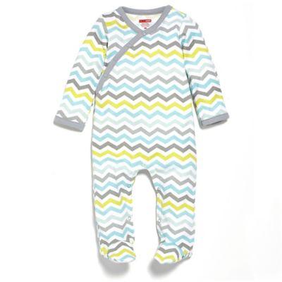 SKIP*HOP® Newborn Side Snap Long Sleeve Footie in Blue Chevron