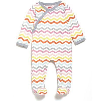 SKIP*HOP® Newborn Side Snap Long Sleeve Footie in Pink Chevron