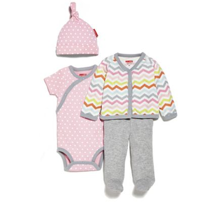 SKIP*HOP® Newborn 4-Piece Welcome Home Pant Set with Hat in Pink/Chevron
