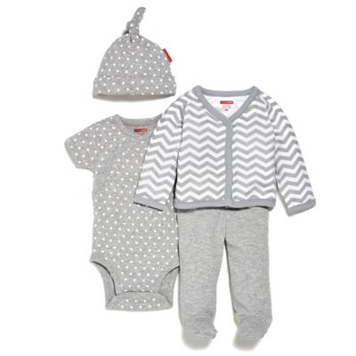 SKIP*HOP® Newborn 4-Piece Welcome Home Pant Set with Hat in Grey/Chevron