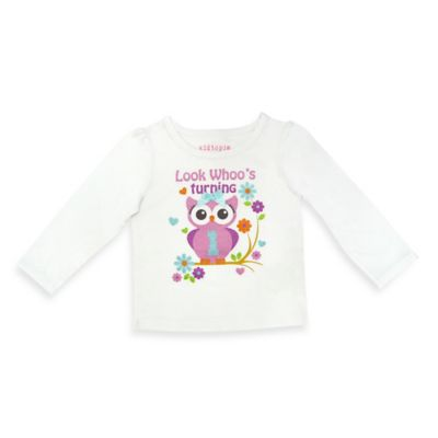 "Kidtopia Size 18M ""Look Whoo's Turning 1"" Owl Long Sleeve T-Shirt"