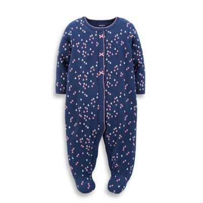 Carter's® Size 6M Snap-Front Hearts Footie in Navy