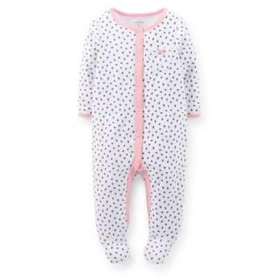 Carter's® Size 6M Snap-Front Blue Flower Footie in White