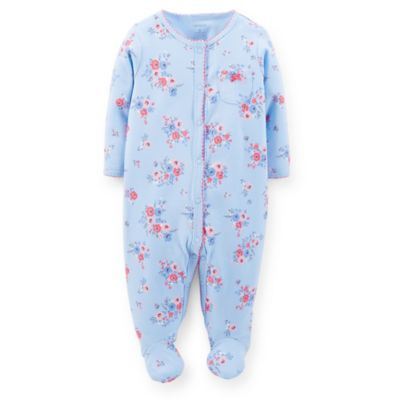 Carter's® Size 6M Snap-Front Floral Footie in Light Blue