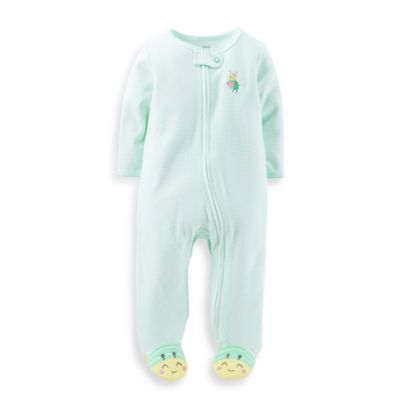 Carter's® Size 3M Zip-Front Bee Footie in Turquoise