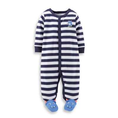 Carter's® Size 9M Snap-Front Monster Footie in Navy Stripe