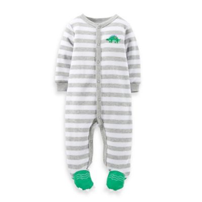 Carter's® Size 6M Snap-Front Dinosaur Footie in Grey Stripe