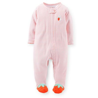 Carter's® Size 6M Zip-Front Strawberry Footie in Pink