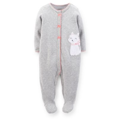 Carter's® Size 6M Snap-Front Dog Footie in Grey Dot