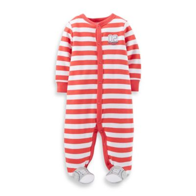 Carter's® Size 6M Snap-Front Baseball Footie in Red Stripe