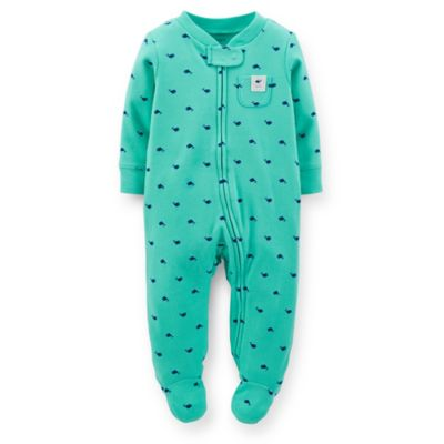 Carter's® Size 6M Zip-Front Whale Footie in Green