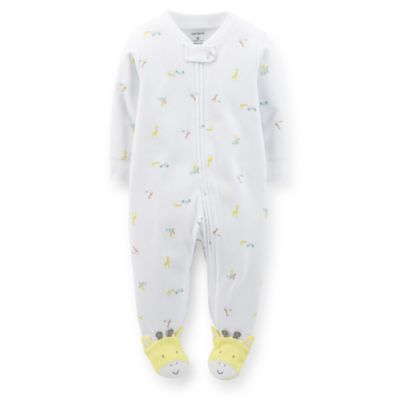 Carter's® Size 9M Zip-Front Animal Footie in White