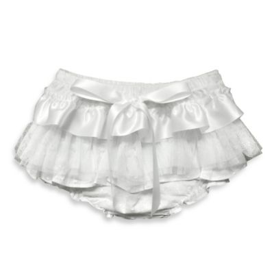 Baby Bella Maya Size 6-12M Ruffle Diaper Cover in White