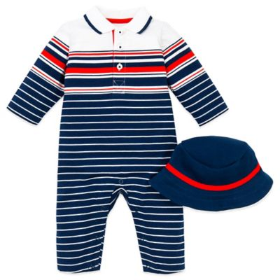 Little Me® Size 9M Sail Stripe Ocean Mariner 2-Piece Coverall and Hat Set