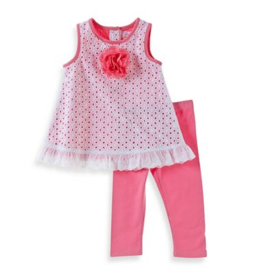 Sheryl Madison Size 18M 2-Piece Eyelet Tunic and Capri Legging Set in Pink