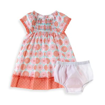 Sheryl Madison Size 24M 2-Piece Peach Sky Short Sleeve Dress and Diaper Cover Set