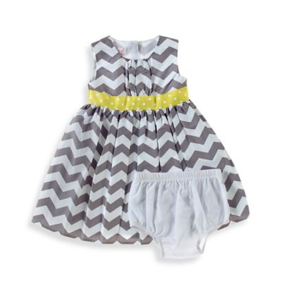 Sheryl Madison Size 24M 2-Piece Chevron Sleeveless Dress and Diaper Cover Set