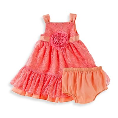 Sheryl Madison Size 18M 2-Piece Peach Lace Dress and Diaper Cover Set